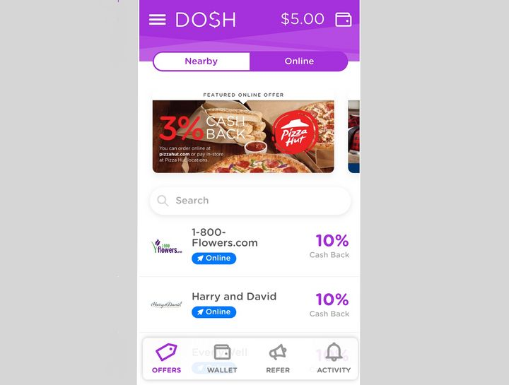The Dosh app awards cash back for purchases at thousands of retailers, restaurants, hotels and more.