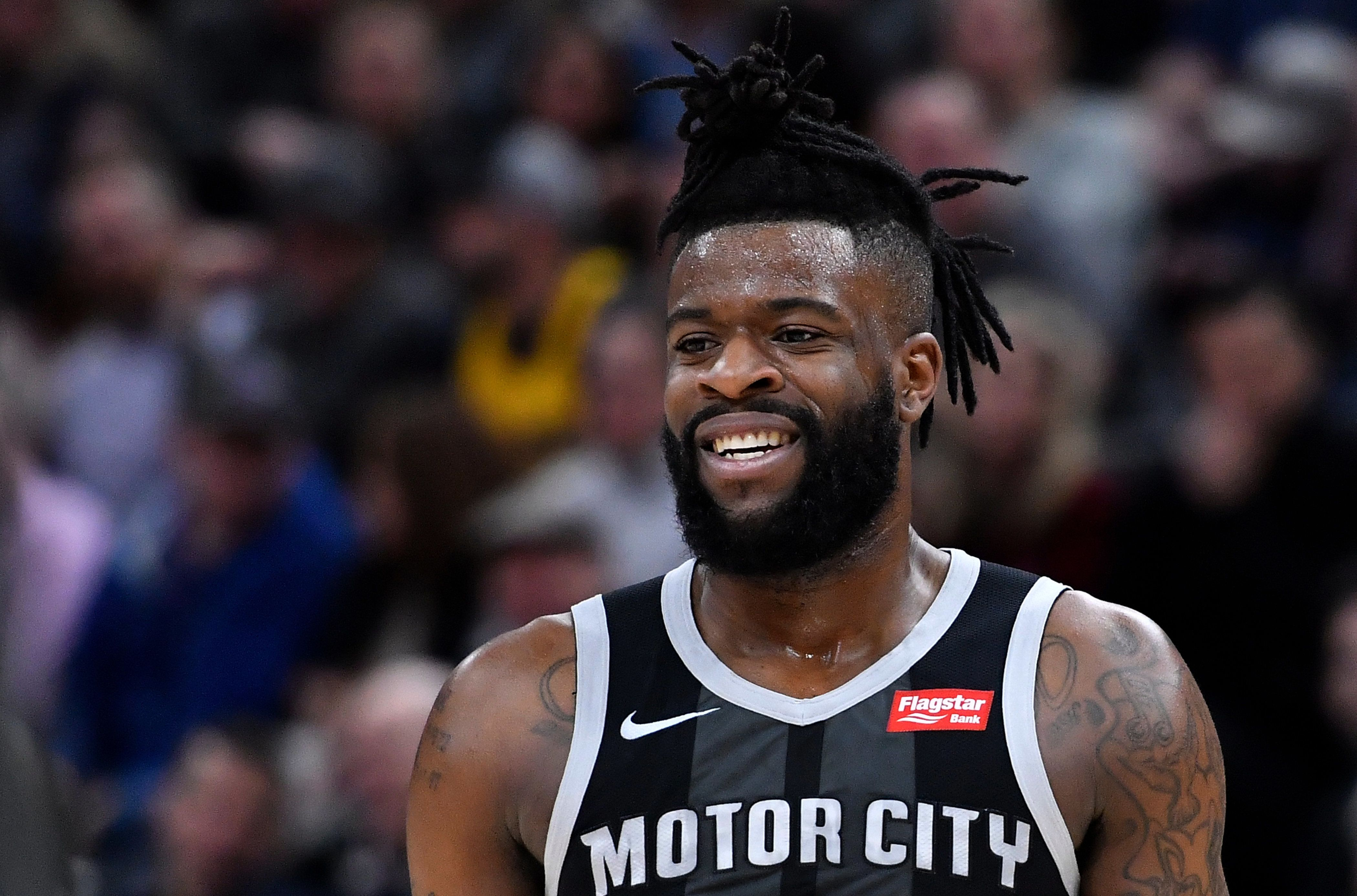 SALT LAKE CITY, UT - JANUARY 14: Reggie Bullock #25 of the Detroit Pistons looks on in a NBA game against the Utah Jazz at Vivint Smart Home Arena on January 14, 2019 in Salt Lake City, Utah. NOTE TO USER: User expressly acknowledges and agrees that, by downloading and or using this photograph, User is consenting to the terms and conditions of the Getty Images License Agreement. (Photo by Gene Sweeney Jr./Getty Images)