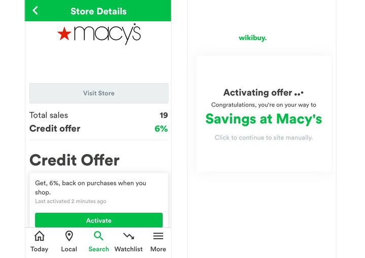 Activate discounts and cash back offers directly through the Wikibuy app.