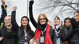 WASHINGTON, DC - JANUARY 21:  (L-R back row) Ginny Suss, Carmen Perez, Gloria Steinem, Linda Sarsour, Tamika Mallory and (front row) Mia Ives-Rublee appear onstage during the Women's March on Washington on January 21, 2017 in Washington, DC.  (Photo by Theo Wargo/Getty Images)