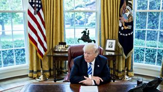 FILE: U.S. President Donald Trump speaks during an interview in the Oval Office of the White House in Washington, D.C., U.S., on Monday, May 1, 2017. Sunday, January 20, 2019, marks the second anniversary of U.S. President Donald Trump's inauguration. Our editors select the best archive images looking back over Trumps second year in office. Photographer: Andrew Harrer/Bloomberg via Getty Images