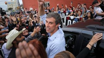 SAN ANTONIO, TEXAS - NOVEMBER 04: U.S. Senate candidate Rep. Beto O'Rourke (D-TX) pumps his fist for a cheering crowd before departing a campaign rally at the Alamo City Music Hall November 04, 2018 in San Antonio, Texas. As Election Day approaches polls have shown the gap narrow between O'Rourke his opponent, incumbent Sen. Ted Cruz (R-TX). (Photo by Chip Somodevilla/Getty Images)