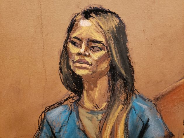 Lucero Guadalupe Sanchez Lopez testifies in a courtroom sketch in Brooklyn federal