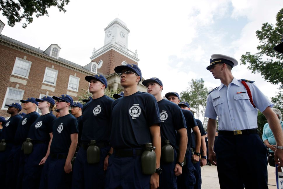Coast Guard cadets at the U.S. Coast Guard Academy in New London, Connecticut.
