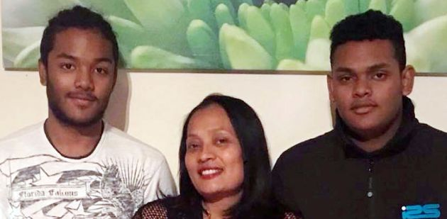 Mary Ragoobeer with her sons Sean and