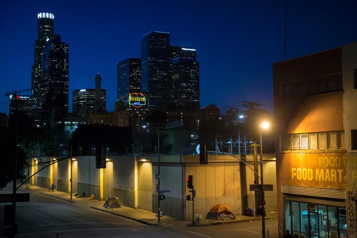 Homeless people sleep in the Skid Row area of downtown Los Angeles.