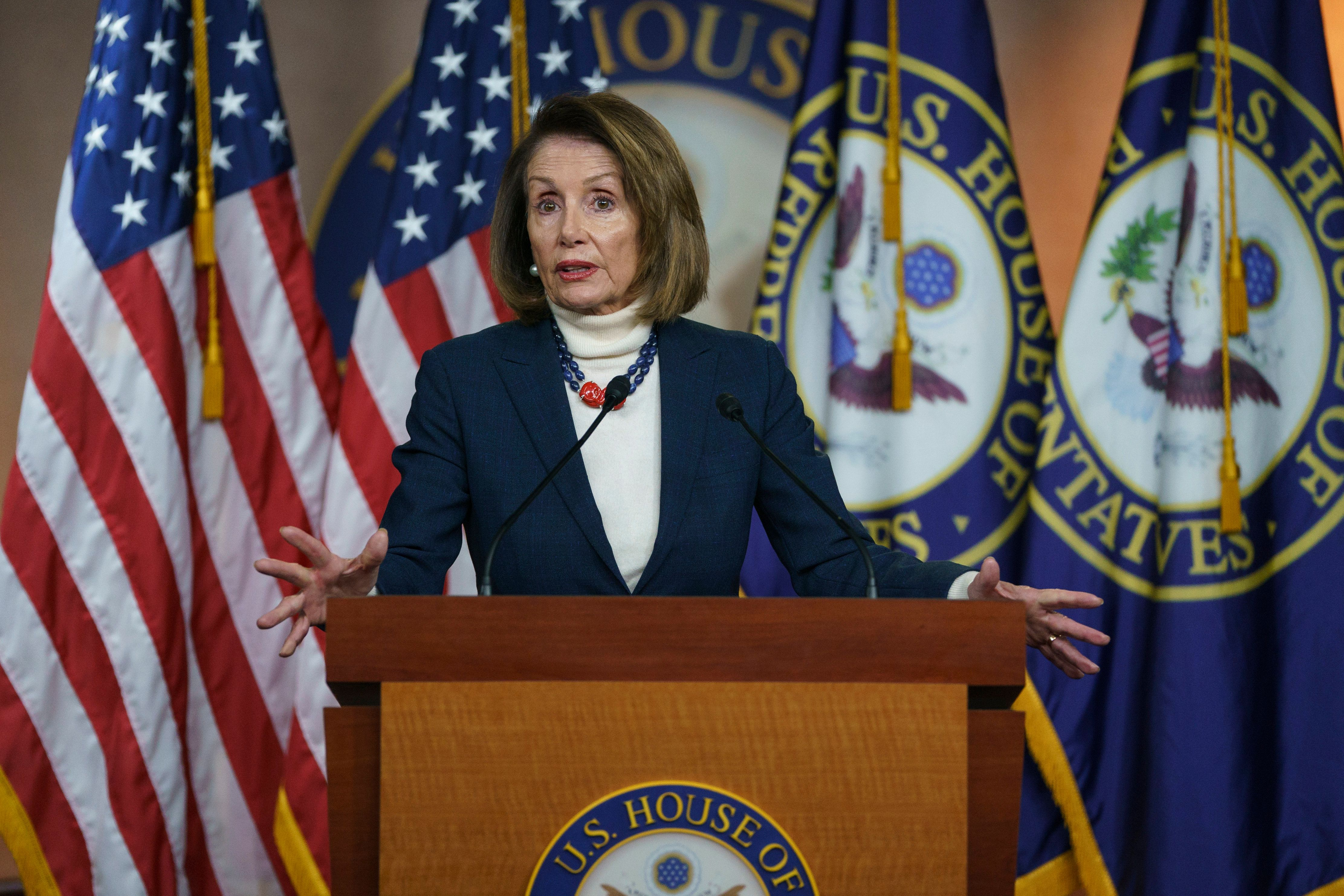 House Speaker Nancy Pelosi of Calif., speaks during a news conference on Capitol Hill in Washington, Thursday, Jan. 17, 2019. (AP Photo/Carolyn Kaster)