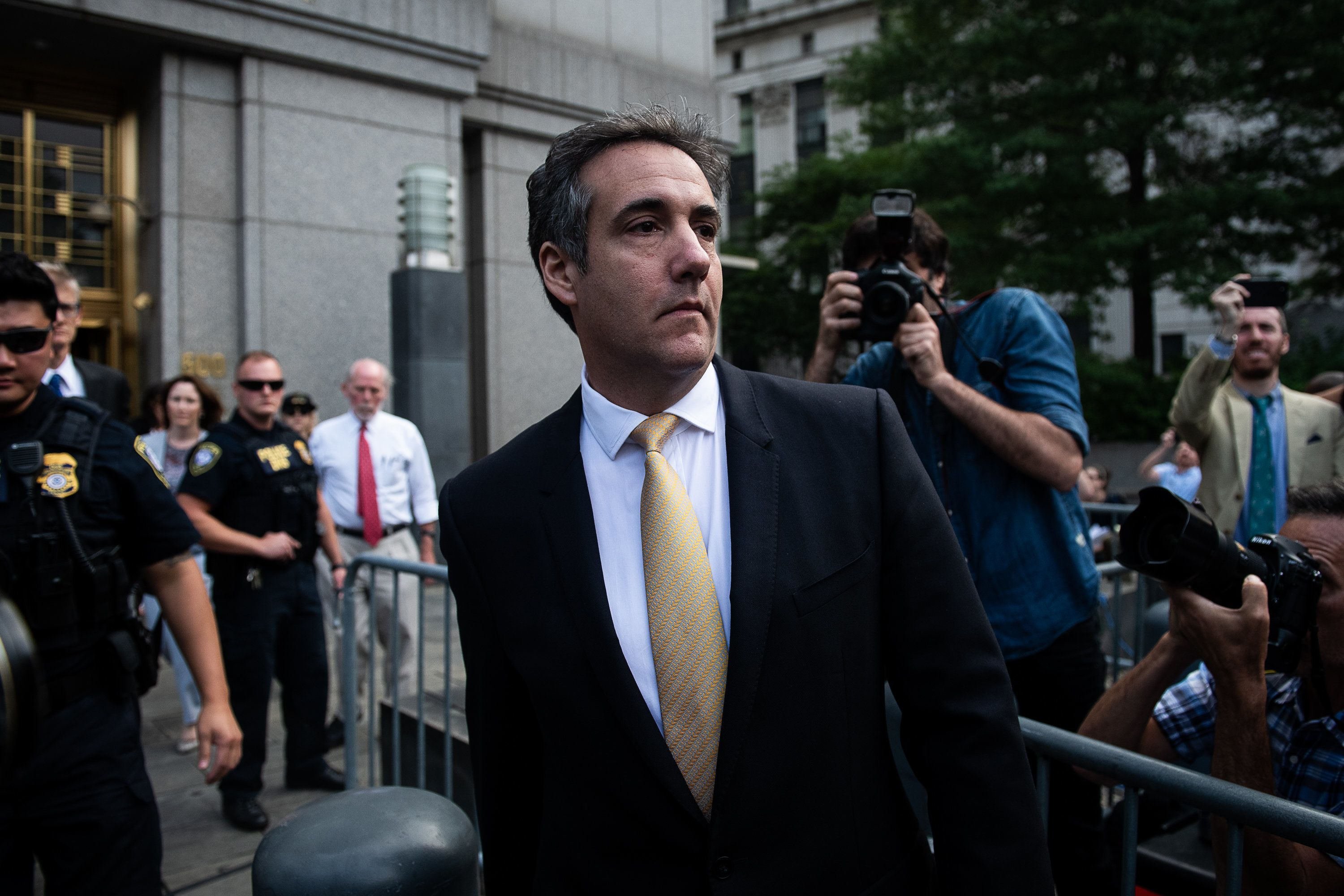 FILE: Michael Cohen, former personal lawyer to U.S. President Donald Trump, exits from federal court in New York, U.S., on Tuesday, Aug. 21, 2018. Sunday, January 20, 2019, marks the second anniversary of U.S. President Donald Trump's inauguration. Our editors select the best archive images looking back over Trumps second year in office. Photographer: Mark Kauzlarich/Bloomberg via Getty Images