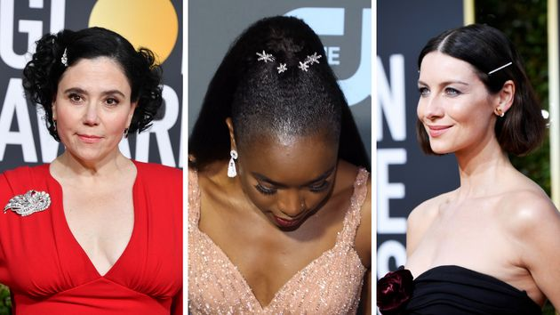From left: Alex Borstein, Kiki Layne and Caitriona Balfe wearing hair clips on the red