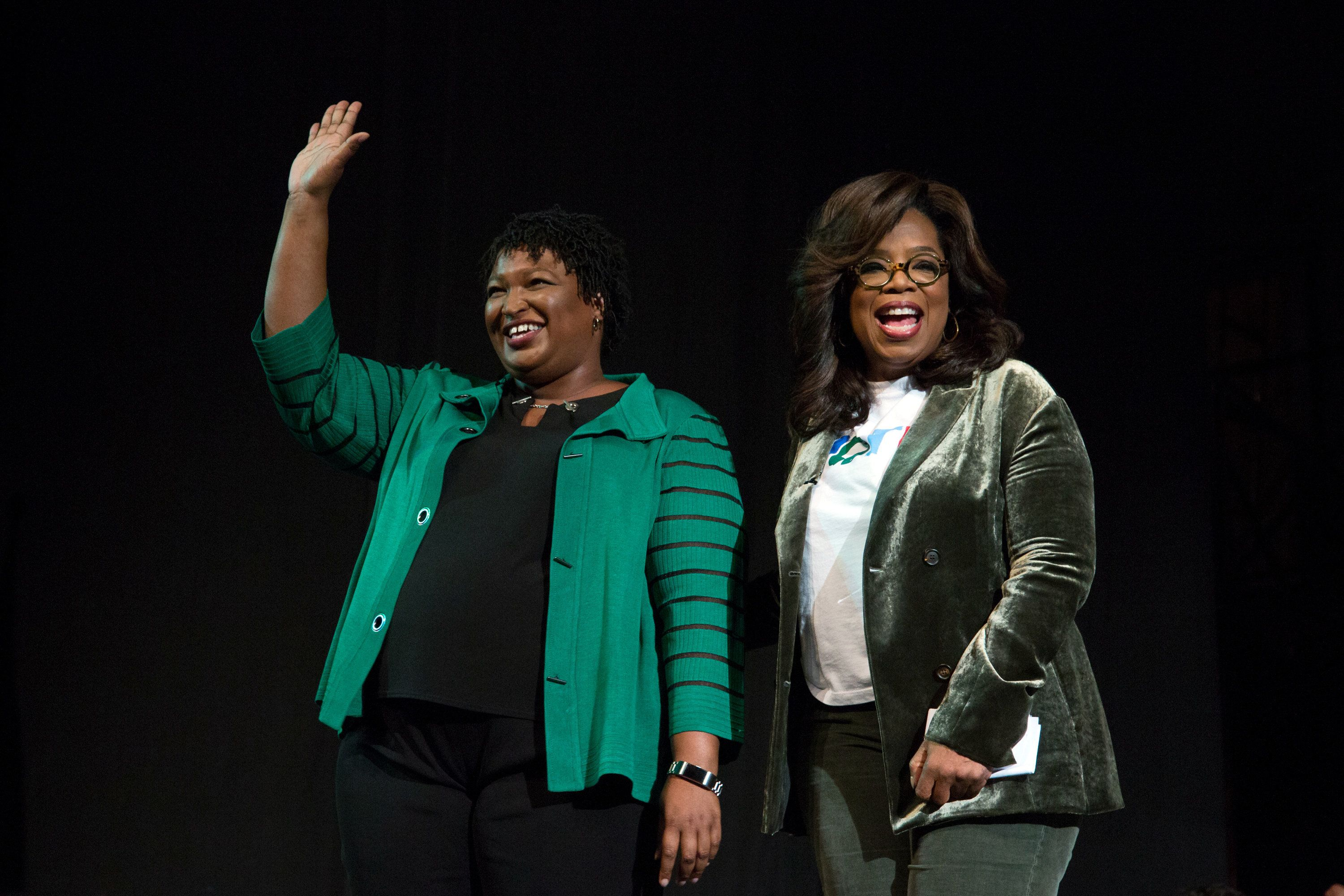 Oprah Winfrey takes part in a town hall meeting with Democratic gubernatorial candidate Stacey Abrams in Marietta, Ga., on Nov. 1, 2018.