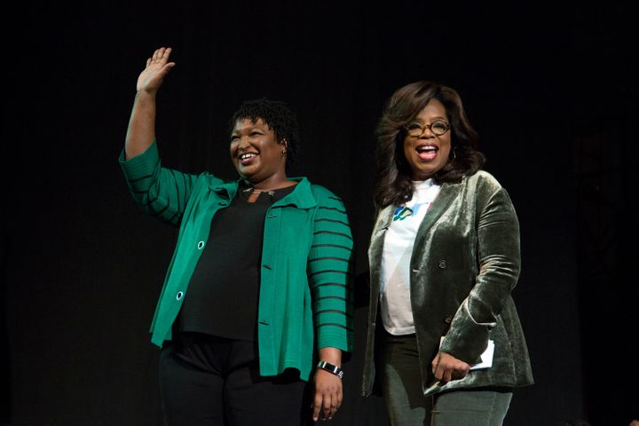 Oprah Winfrey takes part in a town hall meeting with Democratic gubernatorial candidate Stacey Abrams in Marietta, Ga., on No