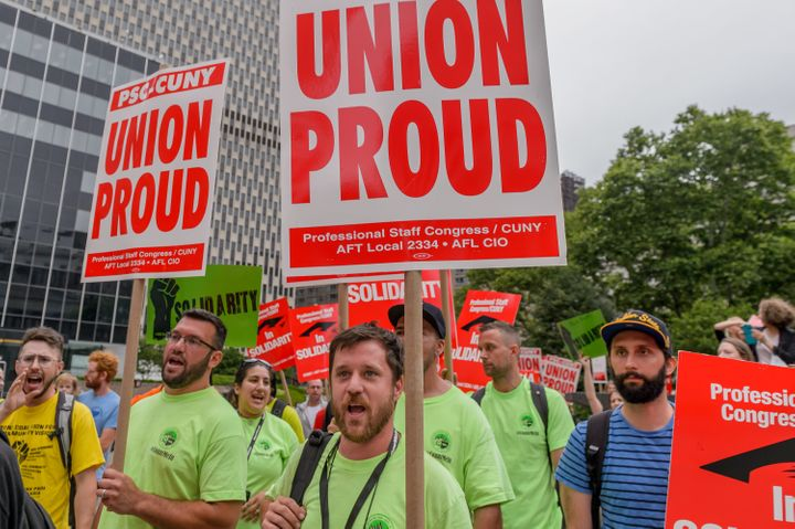 The number of U.S. workers who are union members shrank from 14.8 million in 2017 to 14.7 million in 2018 as total employment