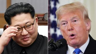 (COMBO) This combination of pictures created on November 12, 2018 shows North Korea's leader Kim Jong Un(L) during the Inter-Korean summit in the Peace House building on the southern side of the truce village of Panmunjom on April 27, 2018, and US President Donald Trump during a post-election press conference in the East Room of the White House in Washington, DC on November 7, 2018. - North Korea is operating at least 13 undeclared bases to hide mobile, nuclear-capable missiles, a new study released November 12, 2018 has found, raising fresh doubts over US President Donald Trump's signature foreign policy initiative. Trump has hailed his July summit with North Korean leader Kim Jong Un as having opened the way to denuclearization of the divided peninsula, defusing tensions that less than a year ago brought the two countries to the brink of conflict. (Photos by Korea Summit Press Pool and MANDEL NGAN / various sources / AFP)        (Photo credit should read KOREA SUMMIT PRESS POOL,MANDEL NGAN/AFP/Getty Images)