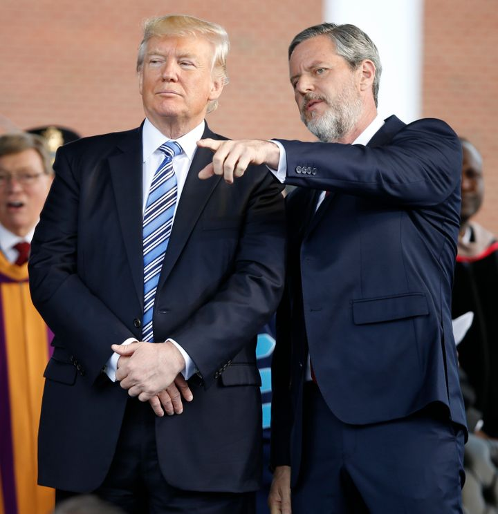 Trump and Falwell at the school's 2017 commencement. Falwell was among the first evangelical leaders to endor