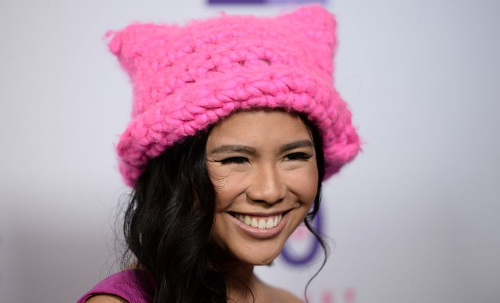 Pussyhat Project co-founder Krista Suh wears one of her hats in Los Angeles in May 2017. At Women's Marches that January, thousands of women wore the hats, painting powerful seas of pink in dozens of cities.