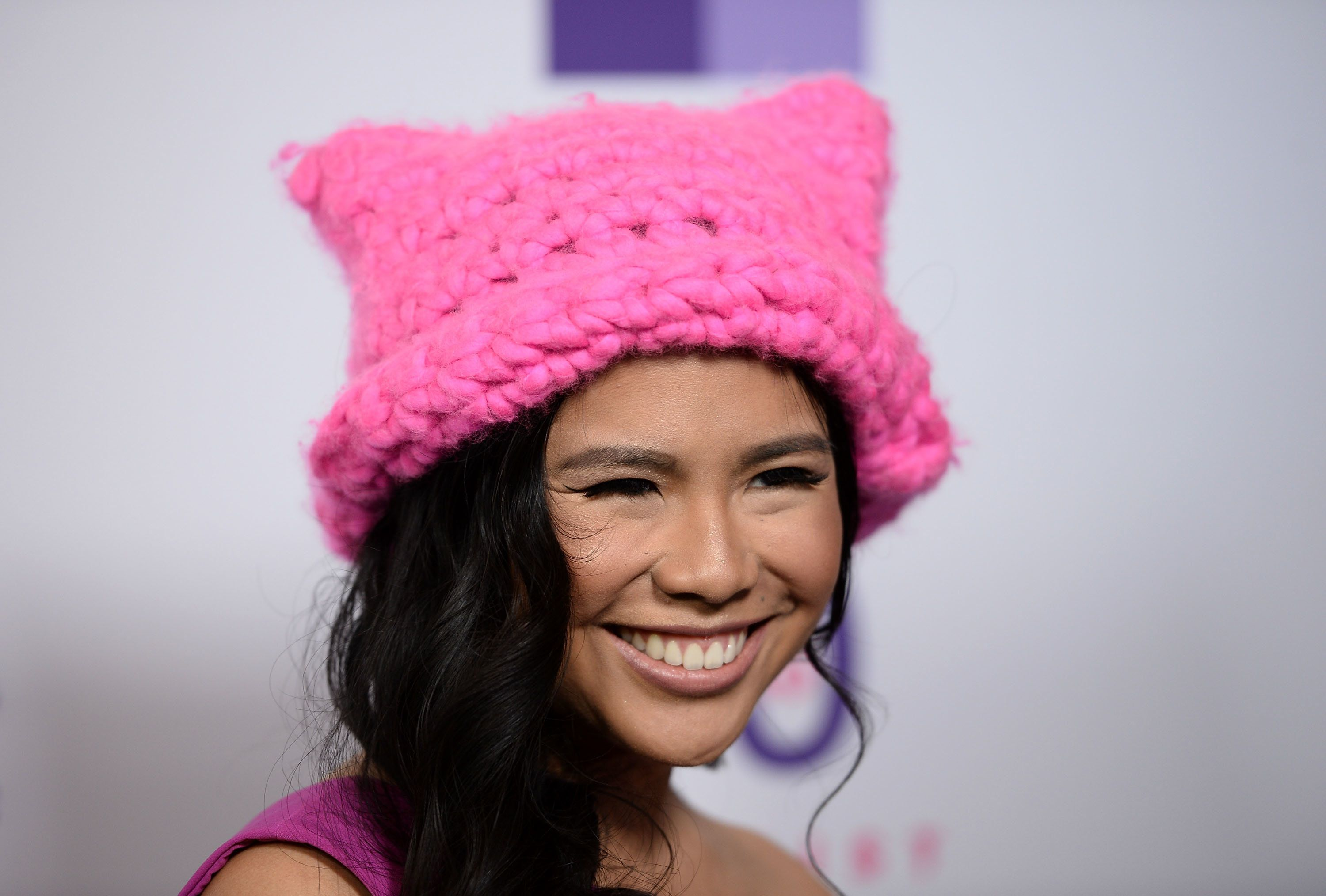 LOS ANGELES, CA - MAY 22:  The Pussyhat Project founder Krista Suh arrives at the Feminist Majority Foundation 30th Anniversary Celebration at the Directors Guild Of America on May 22, 2017 in Los Angeles, California.  (Photo by Amanda Edwards/WireImage)