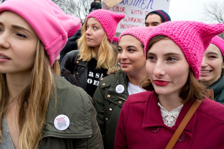Marchers in Washington in 2017. Participants and people unable to attend worePussyhatsto show solidarity in support of women's rights.