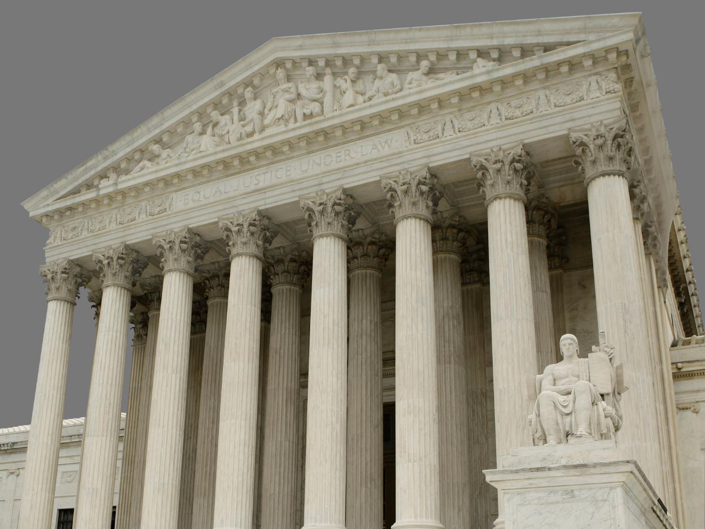 US Supreme Court building, Washington DC, graphic element on gray