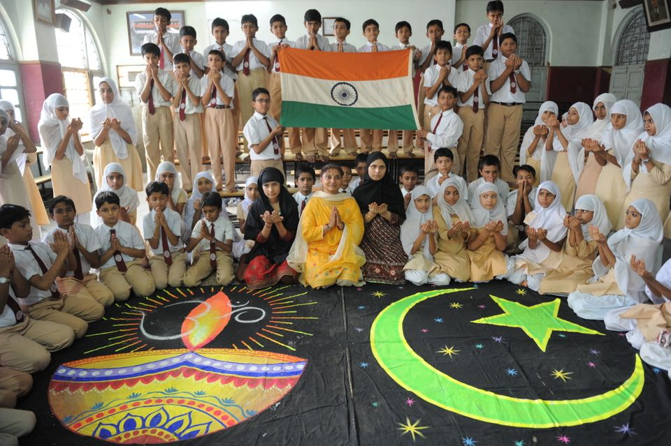 Students from the Anjuman-e-Islam school in Ahmedabad pray for a peaceful solution to the Ram Mandir...