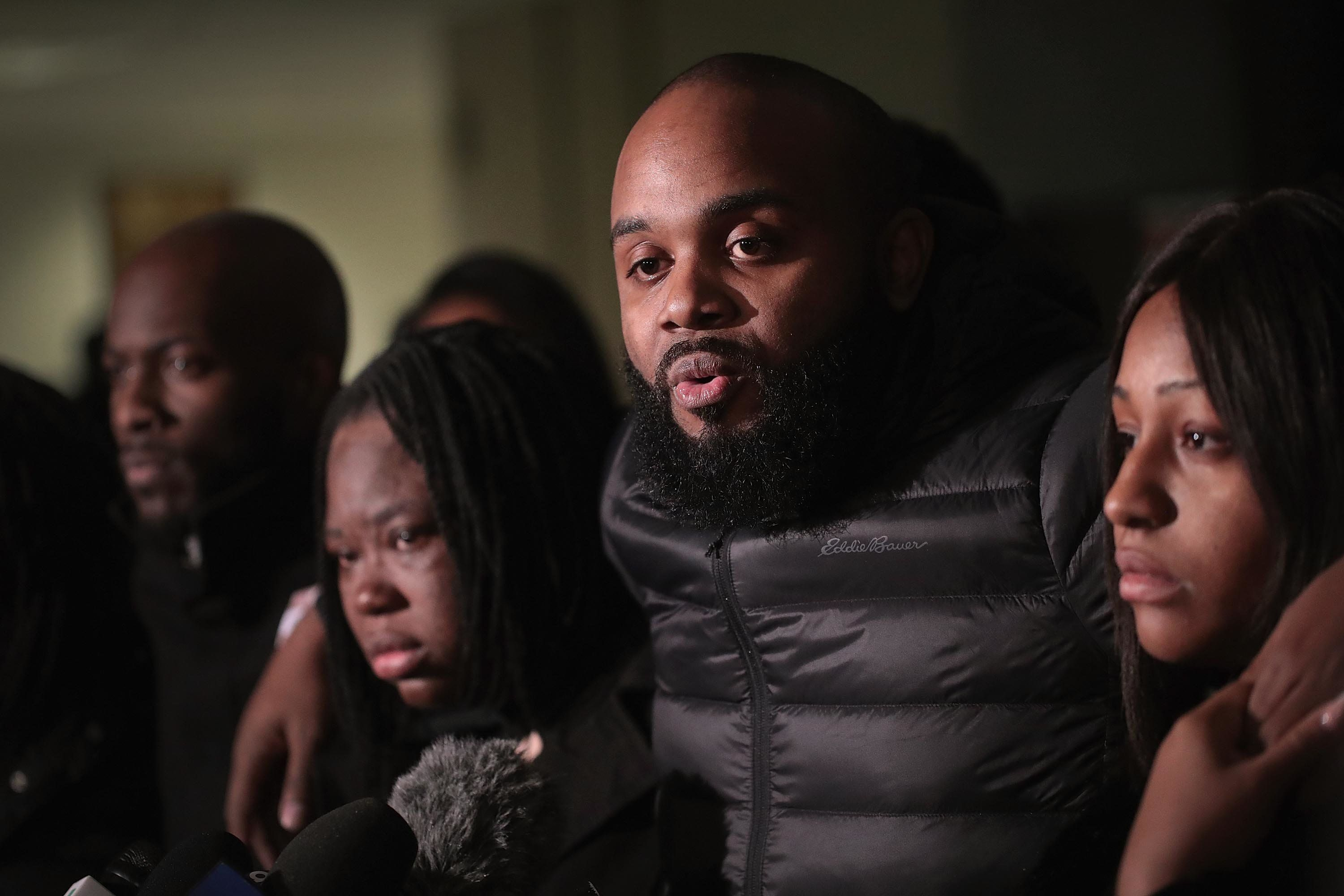 CHICAGO, ILLINOIS - JANUARY 18: Community activist Will Calloway speaks to the press following the sentencing hearing for former Chicago police officer Jason Van Dyke at the Leighton Criminal Courthouse for the 2014 murder of 17-year-old Laquan McDonald on January 18, 2019 in Chicago, Illinois. Van Dyke was sentenced to 81 months in prison.  (Photo by Scott Olson/Getty Images)