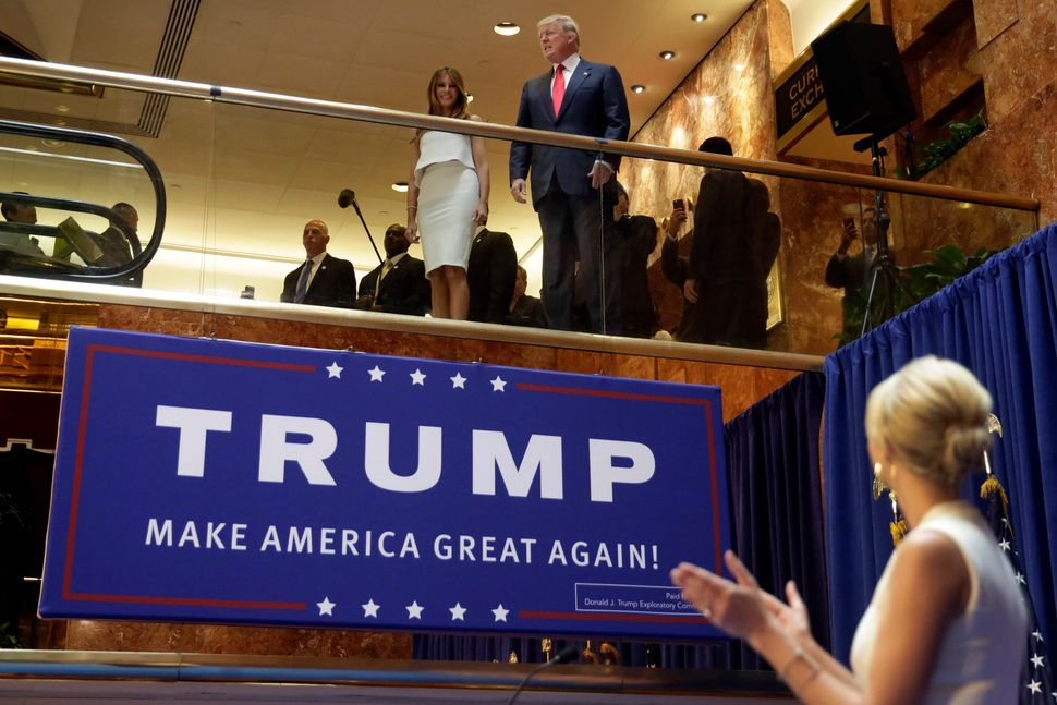 Donald Trump makes his entrance into the 2016 presidential race — and effectively into the GOP — at a June 16, 20