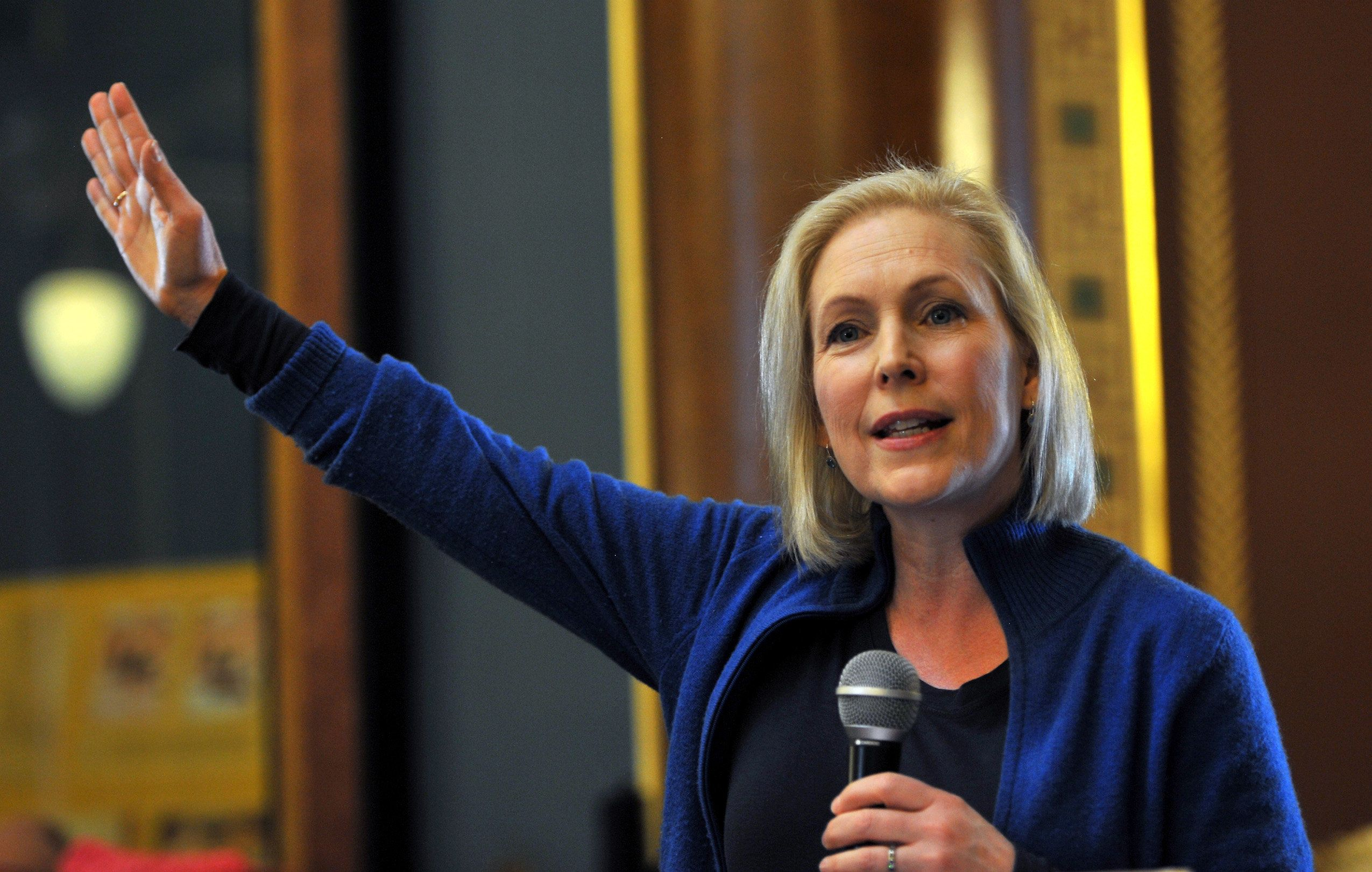Sen. Kirsten Gillibrand (D-N.Y.) speaks at the Iowa Women's March on Saturday in Des Moines. The speech was part of her first