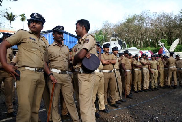 Police deployed at the Nilakkal Base Camp to prevent
