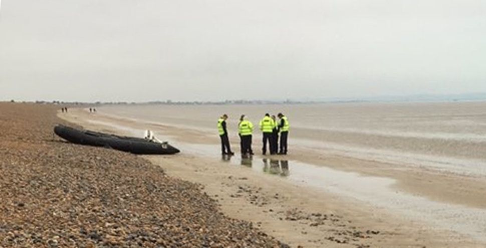 Dinghy carrying eight suspected migrants lands on beach near Dover