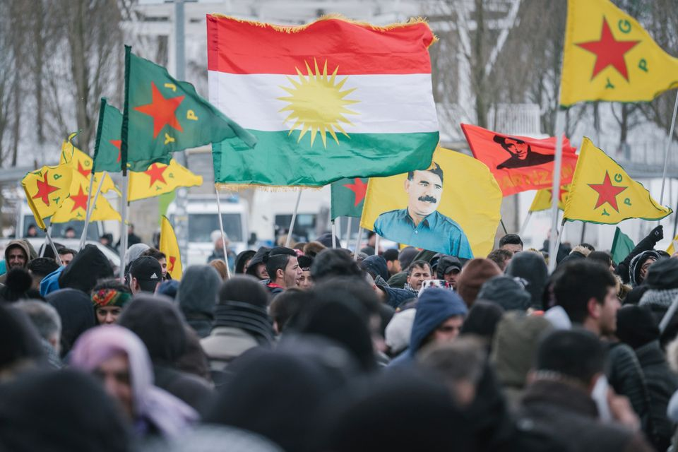 Demonstrators in Germany protest the Turkish takeover of Kurdish-controlled Afrin in northern Syria in...
