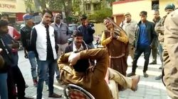 Uttar Pradesh Policeman Suspended After Video Of Woman Falling At His Feet Goes