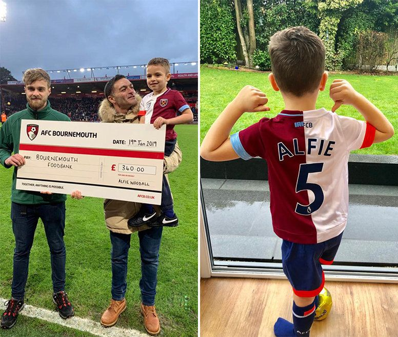 Left: Alfie and his dad Roger hand over £340 to Bournemouth Foodbank.Right: Alfie with his new...