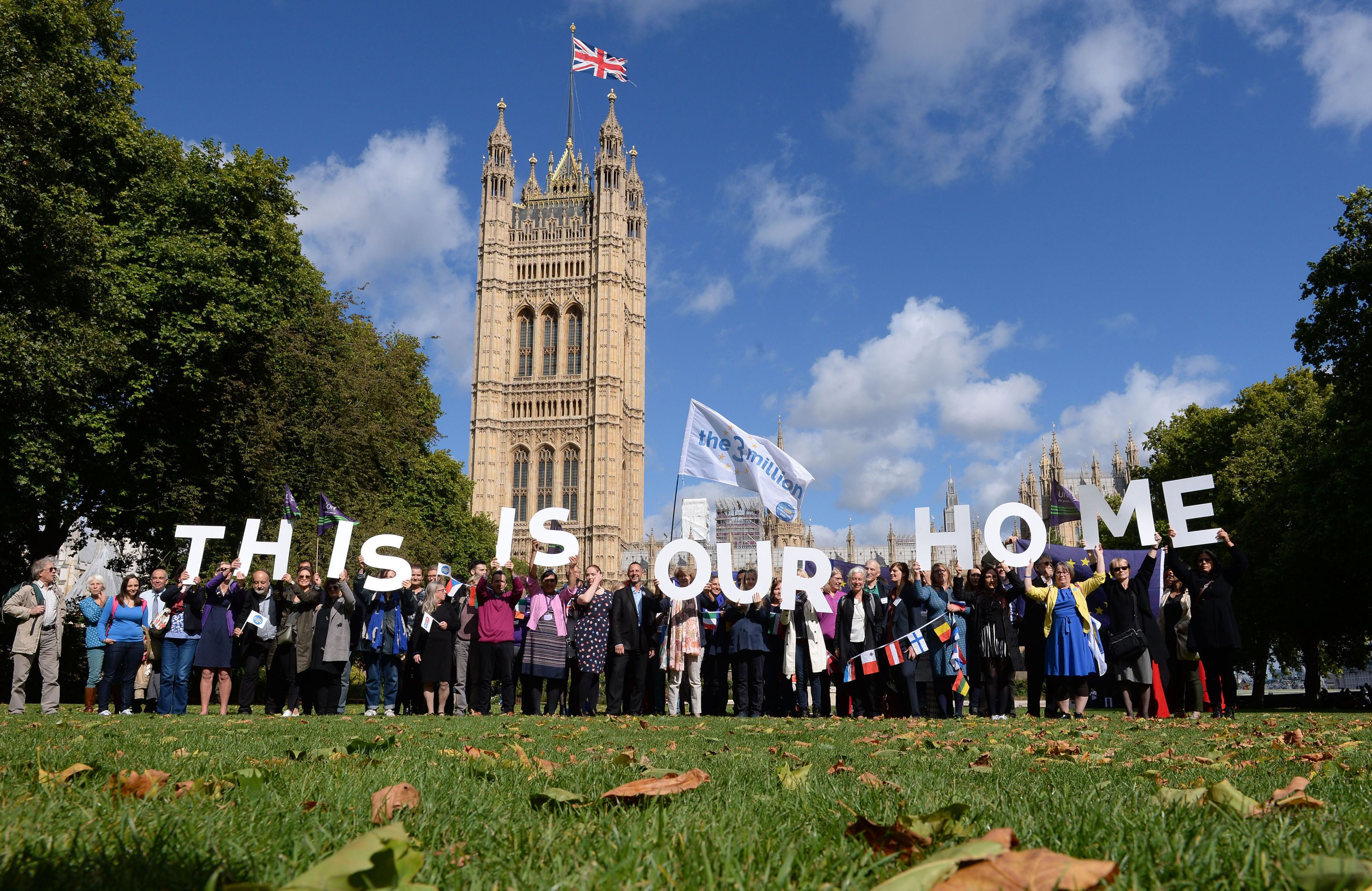 EU citizens in a protest outside the Houses of Parliament in