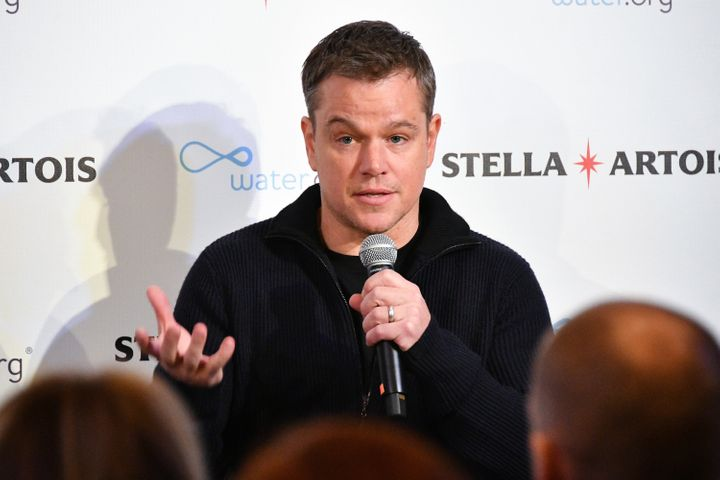 Matt Damon speaks about Water.org, which he co-founded withGary White to increase access to safe water and sanitation worldwide, in New York City in January 2018.