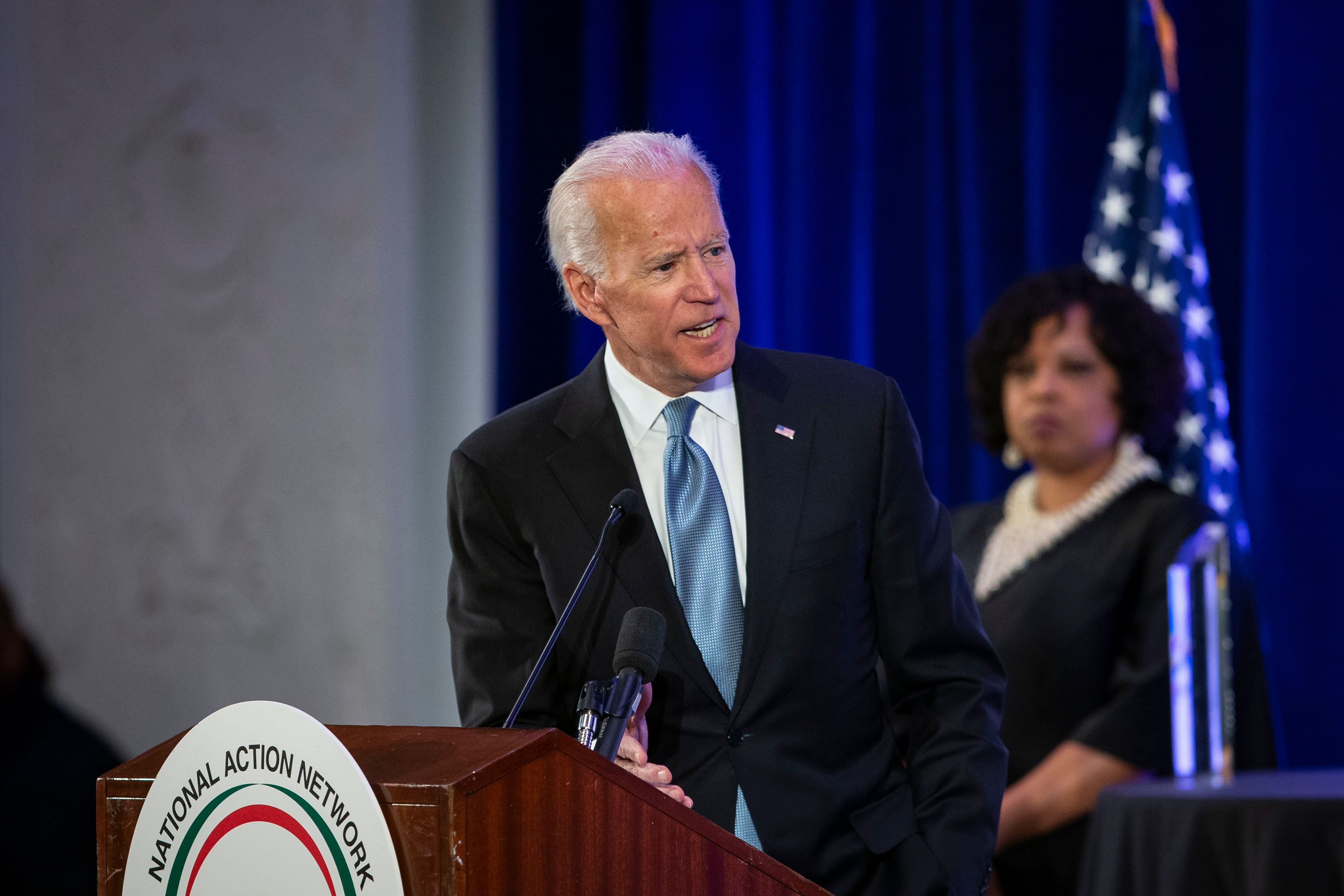 WASHINGTON, DC - JANUARY 21: Former Vice President Joe Biden speaks during the National Action Network Breakfast on January 21, 2019 in Washington, DC. Martin Luther King III was among the attendees. (Photo by Al Drago/Getty Images)