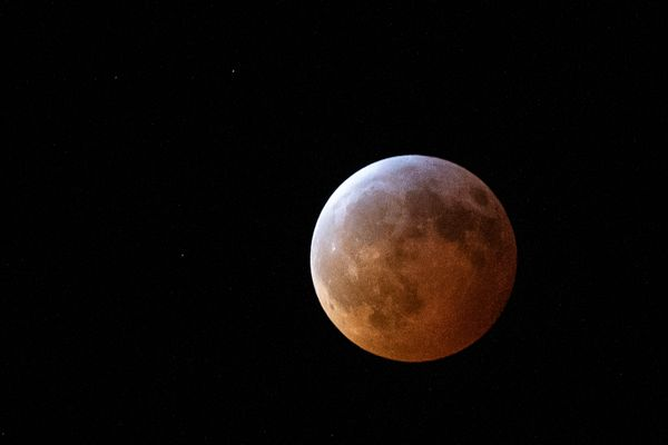 The totally eclipsed moon as seen from Athens, Georgia, Jan. 21.