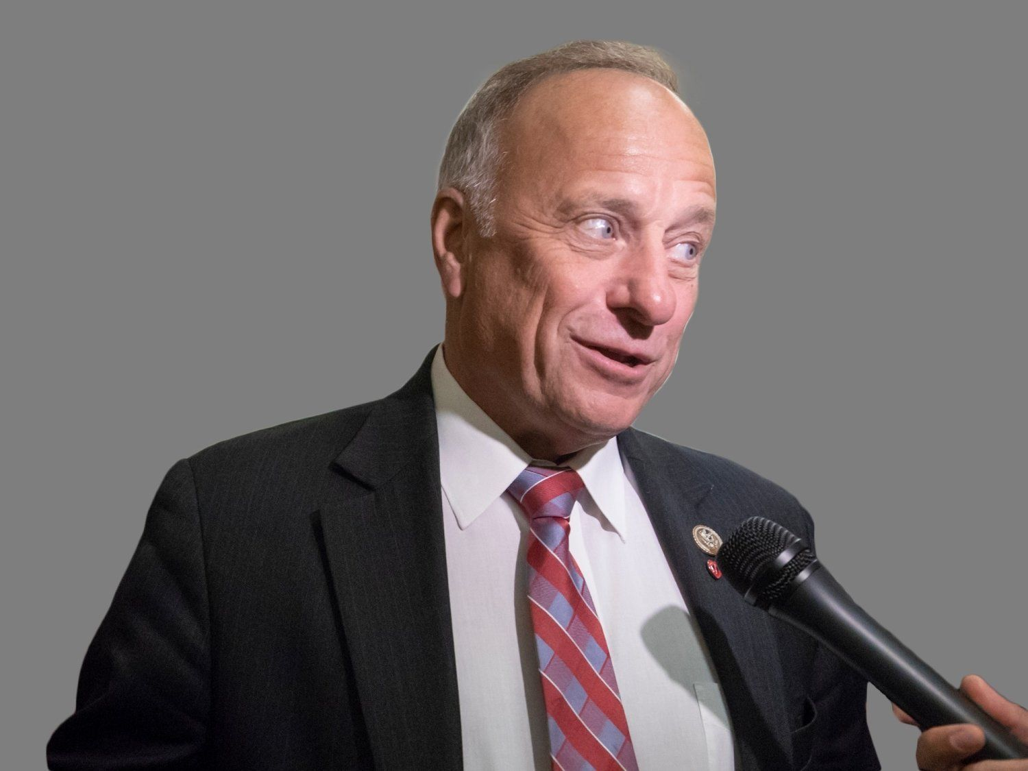 Steve King headshot, as US Representative of Iowa, graphic element on gray