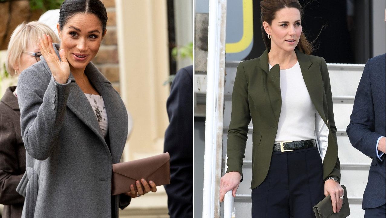 Meghan und Kate halten ihre Taschen in der linken