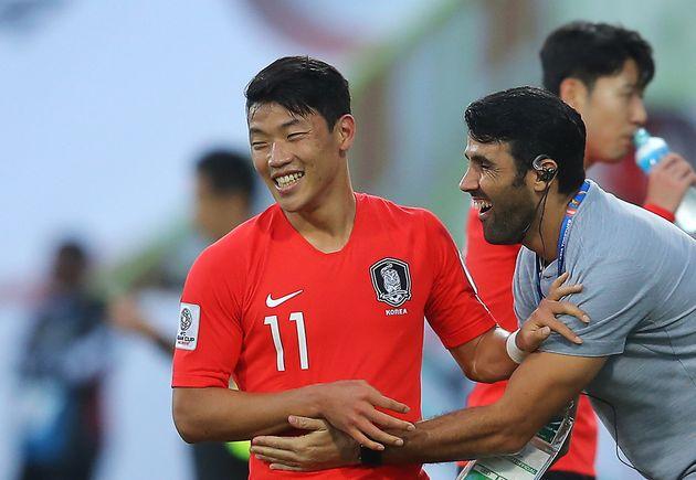[아시안컵] 황희찬이 한국-바레인 16강전 전반 종료 직전 골을
