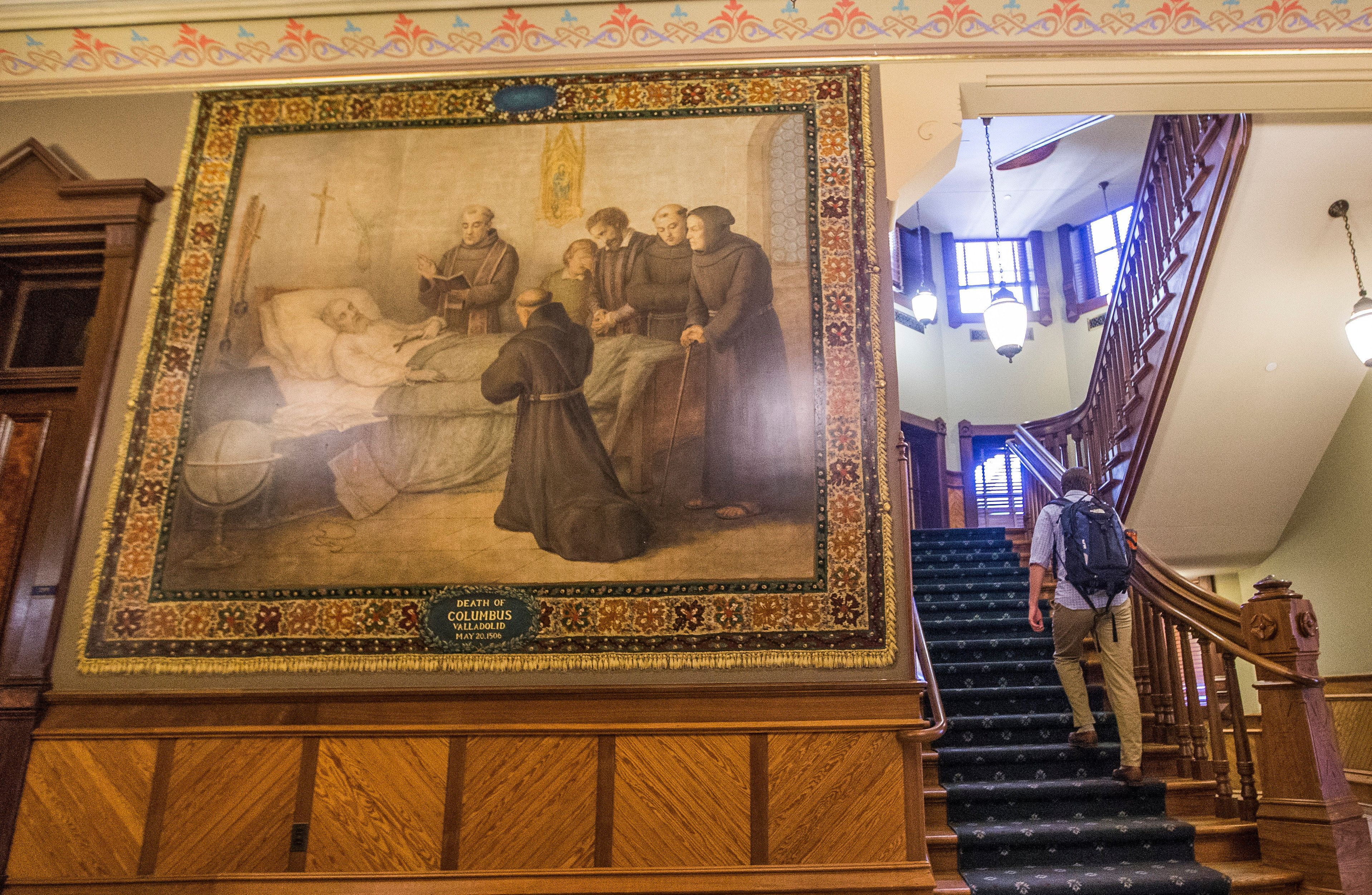 This Nov. 29, 2017 photo shows a murals of Christopher Columbus at Notre Dame.