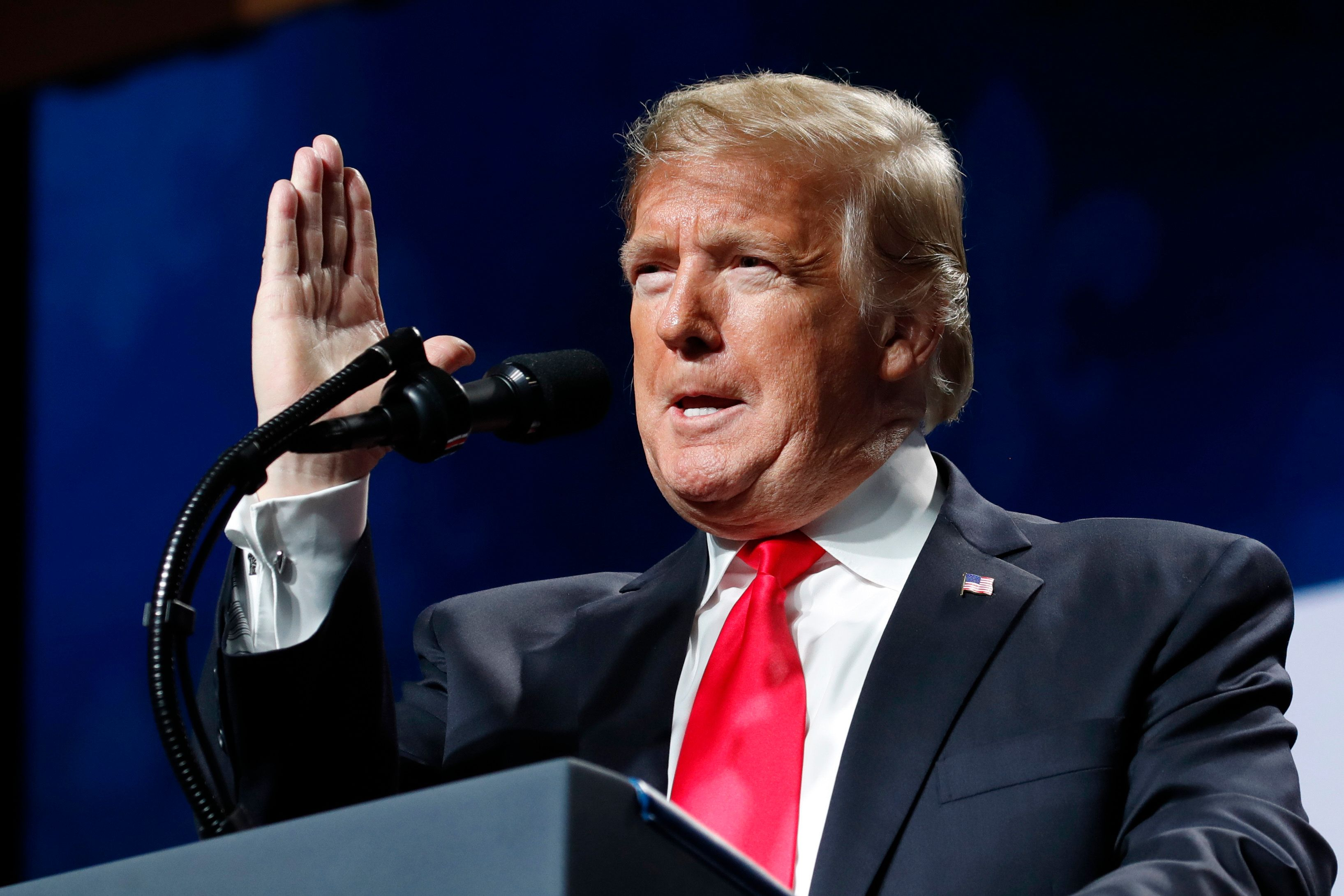 President Donald Trump speaks at the American Farm Bureau Federation's 100th Annual Convention, Monday Jan. 14, 2019, in New Orleans. (AP Photo/Jacquelyn Martin)