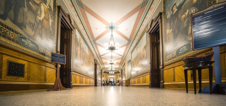 An October 2015 photo shows Christopher Columbus murals in Notre Dame's Main Building.