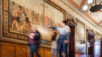 Oct. 9, 2015; Columbus murals in the Main Building (Photo by Matt Cashore/University of Notre Dame)