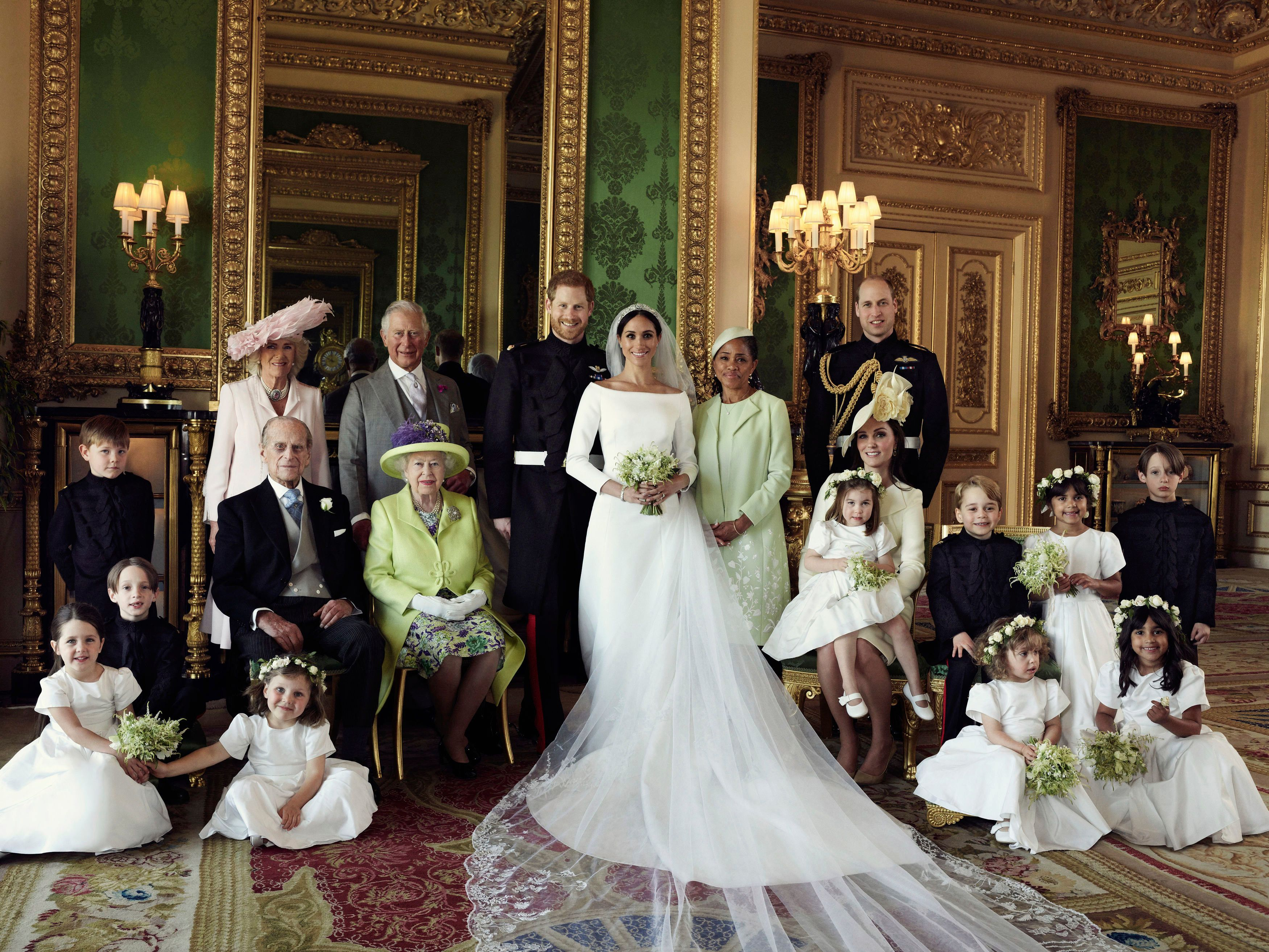 A full shot of the gorgeous Givenchy wedding gown worn by Meghan, Duchess of Sussex.