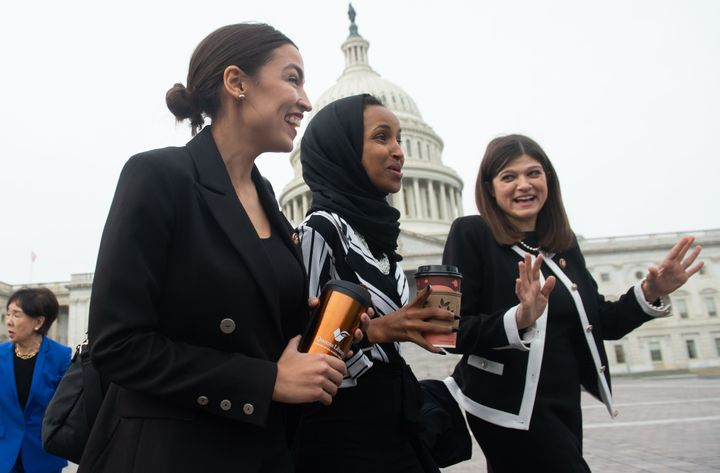 Reps. Ocasio-Cortez, Omar and Stevens join their fellow House Democratic women for a portrait in front of the U.S.