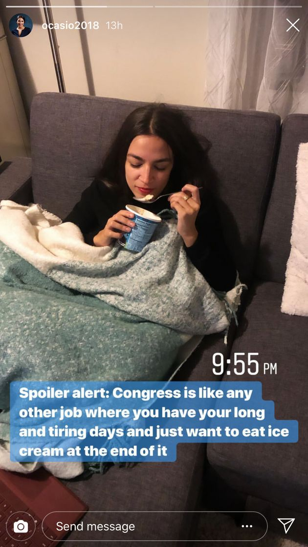 Ocasio-Cortez shares a glimpse into her post-work life on Instagram