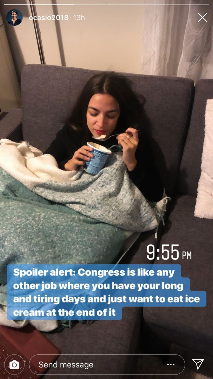 Ocasio-Cortez shares a glimpse into her post-work life on Instagram Story.