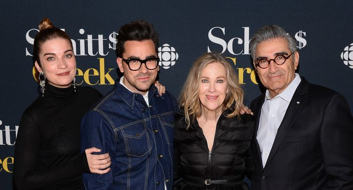 """(From left) Annie Murphy, Dan Levy, Catherine O'Hara and Eugene Levy of """"Schitt's Creek."""""""