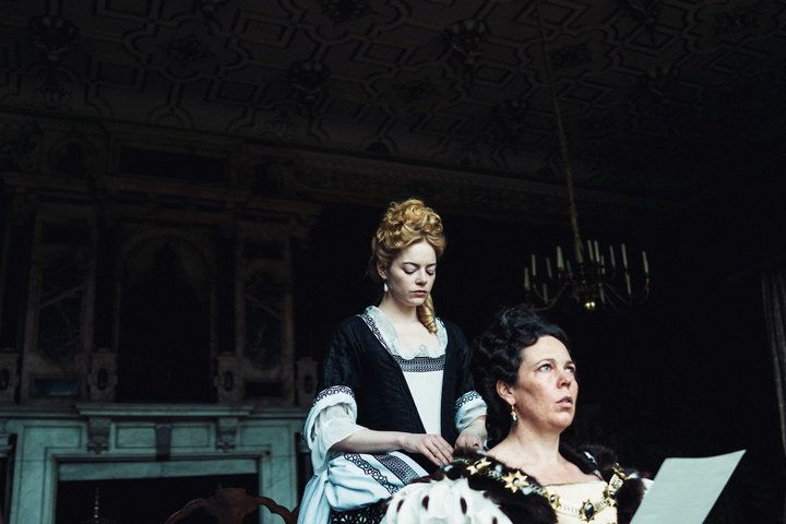 "Emma Stone and Olivia Colman in the film ""The Favourite"""