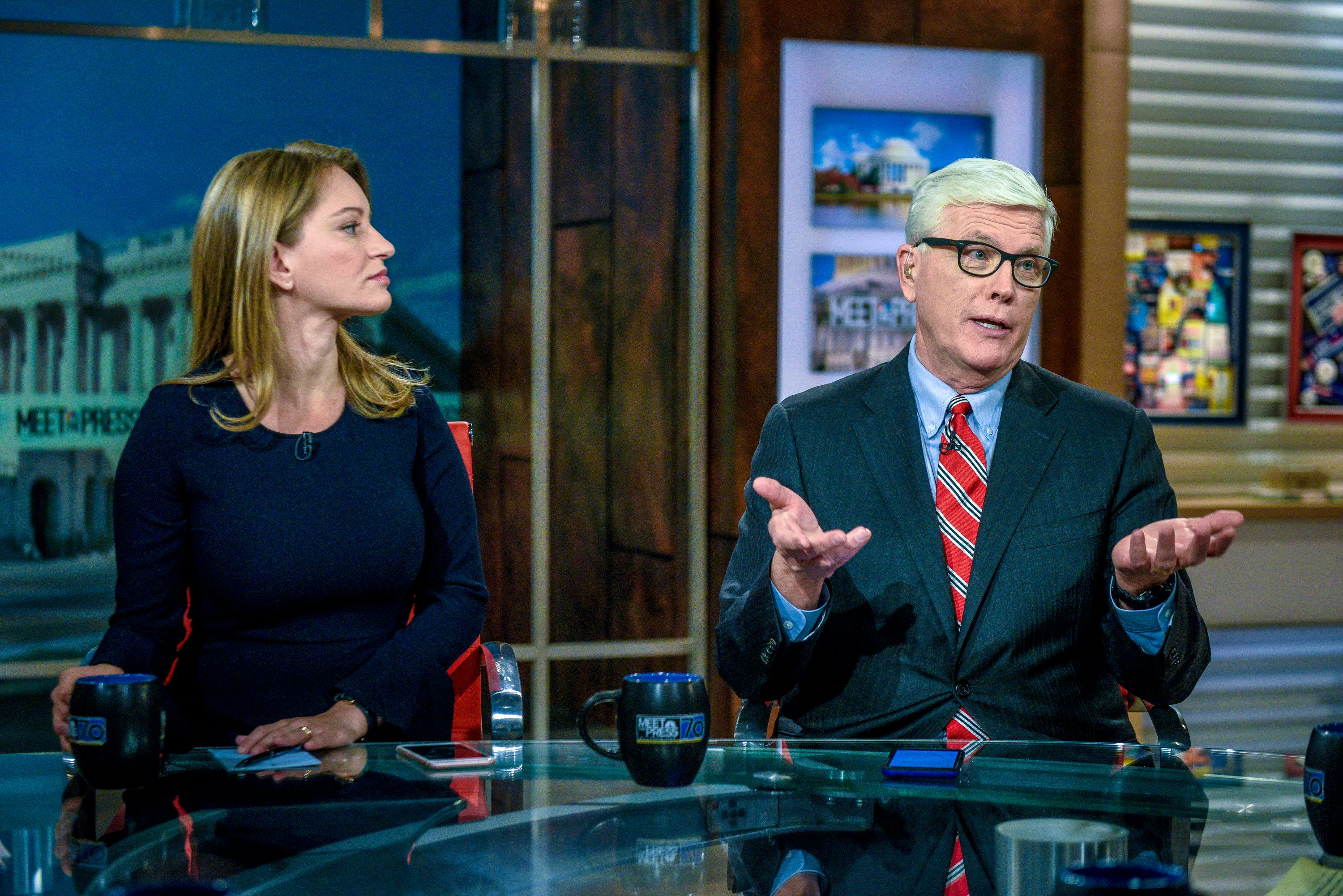 MEET THE PRESS -- Pictured: (l-r)   Katy Tur, NBC News Correspondent; Host, 'MSNBC Live' and Hugh Hewitt, Host, MSNBCs Hugh Hewitt appear on 'Meet the Press' in Washington, D.C., Sunday, Nov. 26, 2017.  (Photo by: William B. Plowman/NBC/NBC NewsWire via Getty Images)