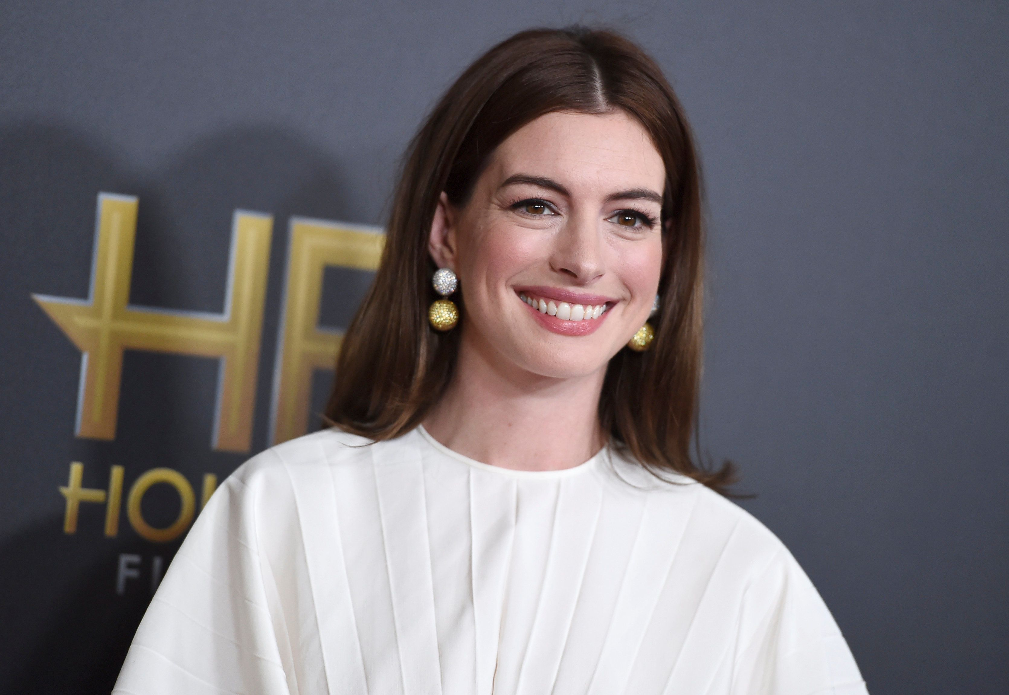Anne Hathaway arrives at the Hollywood Film Awards on Sunday, Nov. 4, 2018, at the Beverly Hilton Hotel in Beverly Hills, Calif. (Photo by Jordan Strauss/Invision/AP)